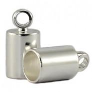 Nauhanpää liimattava hopeoitu 3 mm nauhalle, 8 x 4 mm (4 kpl/pss)