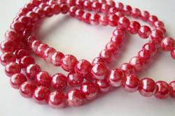 Lasihelmi glaseerattu kiiltävä pehmeä punainen 8 mm (20 kpl/pss)