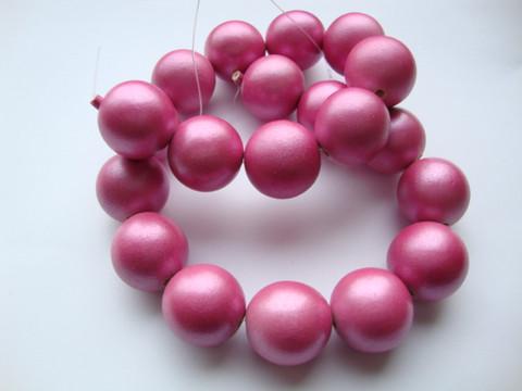 Puuhelmi Metallic ruusun punainen pyöreä 20 mm (10 kpl/pss)