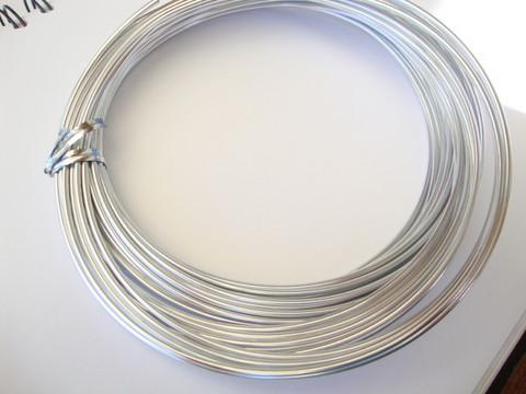 Alumiinilanka pyöreä anodisoitu hopeanvärinen 12 Gauge = 2,05 mm