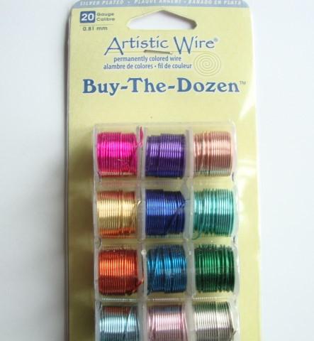 Beadalon Artistic Wire -metallilanka 12-pack Värilajitelma hopeoitu 20 Gauge = 0,81 m (12 x 2,7 m)