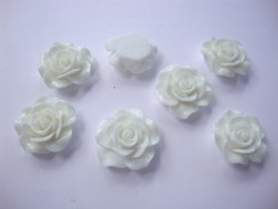 Akryylihelmi/kapussi Ruusu kiiltävä valkoinen tasapohjainen 20 mm
