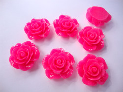 Akryylihelmi/kapussi Ruusu kiiltävä pinkki tasapohjainen 20 mm