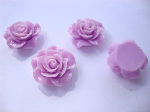 Akryylihelmi/kapussi Ruusu kiiltävä vaalea lila tasapohjainen 20 mm