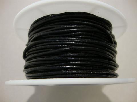 Nahkanauha pyöreä musta 2 mm (myyntierä 1 m)