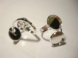 Sormuspohja hopeoitu säädettävä,  kahdelle 12 mm kapussille