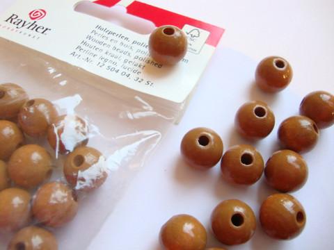 Rayher Puuhelmi keskiruskea pyöreä 12 mm (32 kpl/pss)