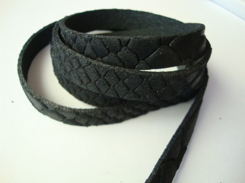 Nahkanauha litteä musta 10 x 2 mm (m-erä 90 cm pala)