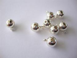 Riipuspidike / metallihelmi sileä hopeoitu ripustuslenkillä 8 mm (4 kpl/pss)
