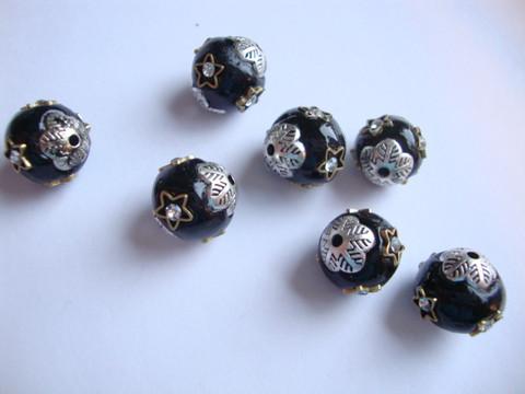 Bohemian lasihelmi musta-hopea 12 mm , reikä n. 2 mm