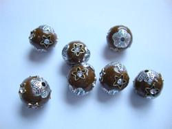 Kashmirihelmi ruskea-hopea 12 mm , reikä n. 2 mm