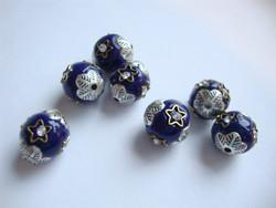 Kashmirihelmi koboltinsininen-hopea 12 mm , reikä n. 2 mm