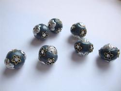 Kashmirihelmi petrooli-hopea 12 mm , reikä n. 2 mm