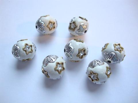 Kashmirihelmi valkoinen-hopea 12 mm , reikä n. 2 mm