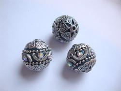 Kashmirihelmi petrooli-hopea 20 mm, reikä n. 2 mm