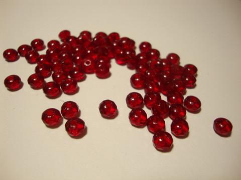 Tsekkiläinen fasettihiottu lasihelmi rondelli rubiininpunainen 3 x 5 mm (30 kpl/pss)