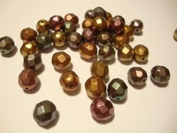 Tsekkiläinen fasettihiottu lasihelmi pyöreä opaakki metallivärit sekoitus 8 mm (20 kpl/pss)