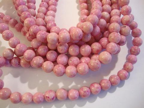 Marmori värjätty vaaleanpunainen pyöreä 12 mm (10 kpl/pss)