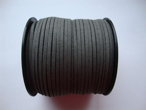 Mokkanauha (faux suede) tummanharmaa 3 x 1,4 mm (m-erä 5 m)