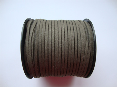 Mokkanauha (faux suede) luonnonharmaa/harmaanruskea 3 x 1,4 mm (m-erä 5 m)