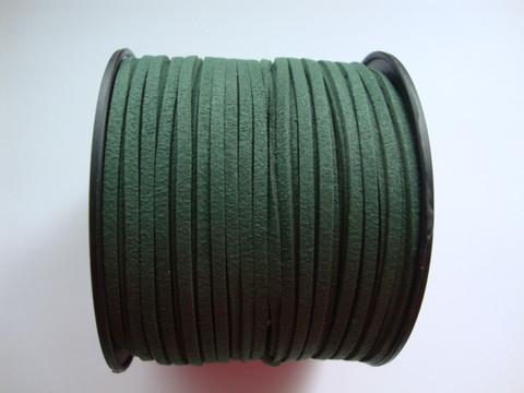 Mokkanauha (faux suede) tummanvihreä 3 x 1,4 mm (m-erä 5 m)