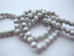 Lasihelmi glaseerattu kiiltävä valkoinen-vaalea harmaa 8 mm (20 kpl/pss)