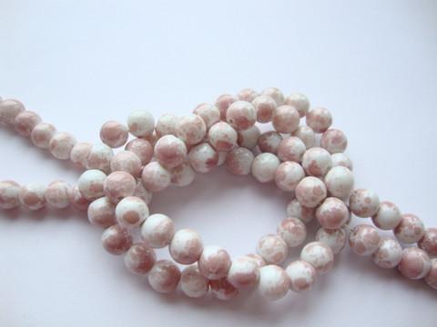 Lasihelmi glaseerattu kiiltävä valkoinen-ruusunpunainen 8 mm (20 kpl/pss)