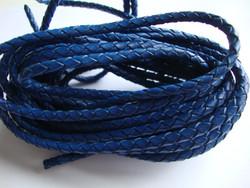 Nahkanauha punottu sininen  pyöreä 4 mm (m-erä 1 m)