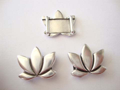 Metallihelmi/hela (slider) Lootus 23 x 20 mm 10 mm nahkanauhalle