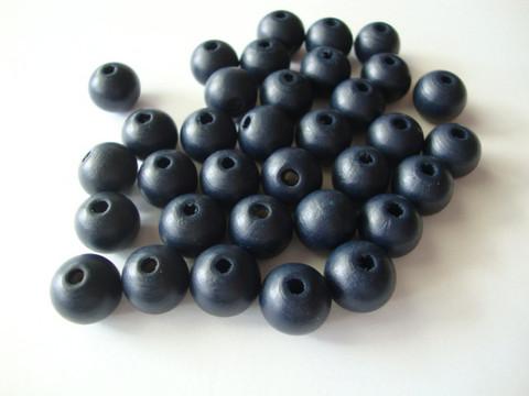 Puuhelmi tumma sininen pyöreä 12 mm (30 kpl/pss)