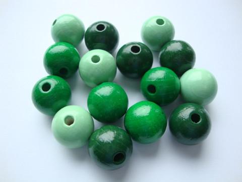 Rayher Puuhelmimix (puuhelmisekoitus) vihreä/vihreänsävyt 12 mm (32  kpl/pss)