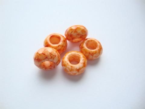 Fasettihiottu/särmikäs lasihelmi oranssi rondelli 6 x 13 mm, suurireikäinen (5 kpl/pss)