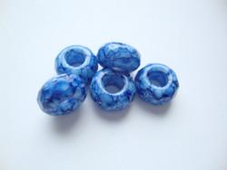 Fasettihiottu/särmikäs lasihelmi sininen rondelli 6 x 13 mm, suurireikäinen (5 kpl/pss)