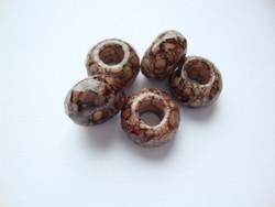 Fasettihiottu/särmikäs lasihelmi tummanruskea rondelli 6 x 13 mm, suurireikäinen (5 kpl/pss)