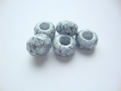 Fasettihiottu/särmikäs lasihelmi vaaleanharmaa rondelli 6 x 13 mm, suurireikäinen (5 kpl/pss)