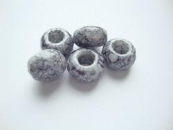 Fasettihiottu/särmikäs lasihelmi tummanharmaa/musta rondelli 6 x 13 mm, suurireikäinen (5 kpl/pss)