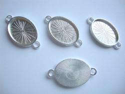 Korulinkki / riipus / kuvakehys ovaali hopeoitu 37 x 21 mm