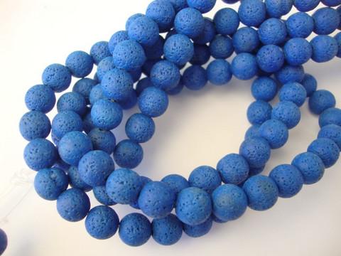 Kivihelmi Laavakivi sininen pyöreä 8 mm (n. 48 kpl/nauha)