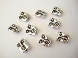Metallihelmi Kasvot hopeanvärinen 12 x 10 mm (2 kpl/pss)