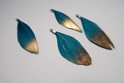 Sulka/höyhen Dip-dye Teal turkoosi/kärki kulta n. 3,5 cm