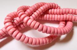 Puuhelmi vaaleanpunainen / vaalea pinkki rondelli 8 mm (n. 112 kpl/nauha)