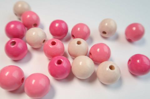 Rayher Puuhelmimix (puuhelmisekoitus) vaaleanpunainen-pinkki 8 mm (82 kpl/pss)