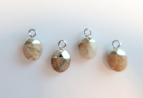 Kivihelmiriipus vaaleanruskea-hopea ovaali 14 x 8 mm