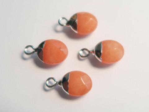 Kivihelmiriipus oranssi-hopea ovaali 14 x 8 mm