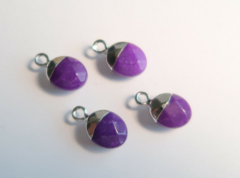 Kivihelmiriipus violetti-hopea ovaali 14 x 8 mm