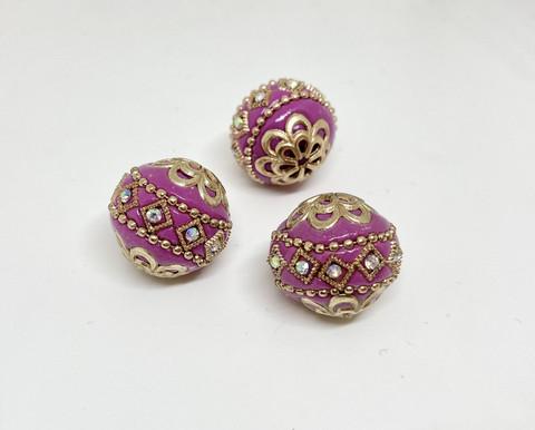 Kashmirihelmi fuchsia-kulta 20mm
