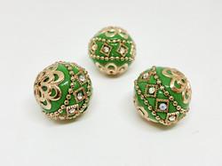 Kashmirihelmi vihreä-kulta 20mm