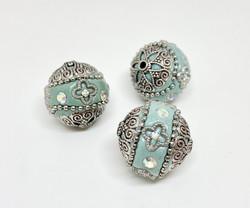 Kashmirihelmi turkoosi-hopea 20mm