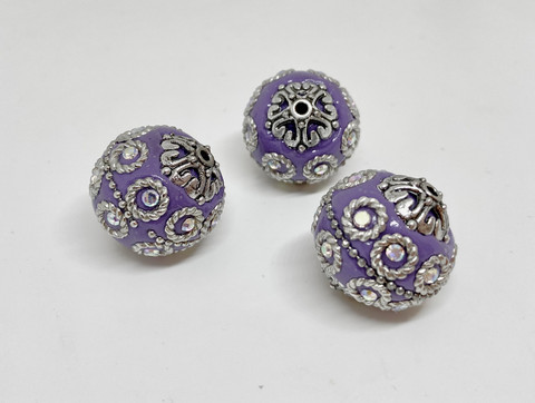 Kashmirihelmi violetti-hopea 20 mm