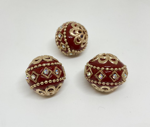 Kashmirihelmi viininpunainen-hopea 20 mm